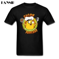 Creative Bacon Pancake Song Anime Adventure Time Tshirt Homme Short Sleeve Soft Cotton Men Tshirt Brand