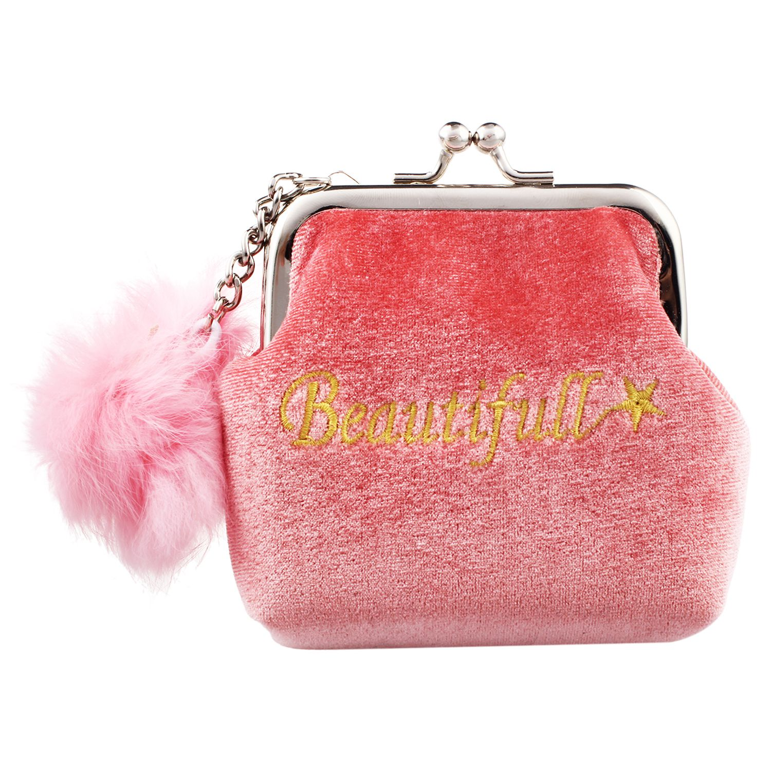 HEBA-Fashion Women Velvet Lovely Small Wallet Cute Fur Ball Lady Daily Use Travel Hasp R ...