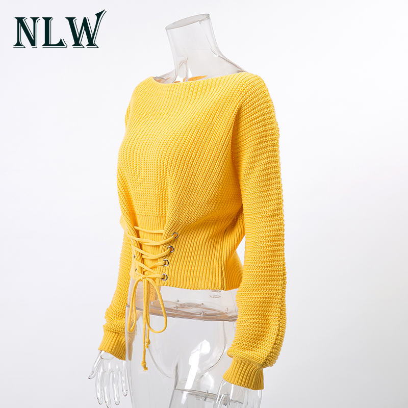 NLW Lace Up Crop Casual Women Sweater 19 Autumn Winter Knitted Pullovers Long Sleeve O Neck Loose Jumper Top Bandage Sweater 7