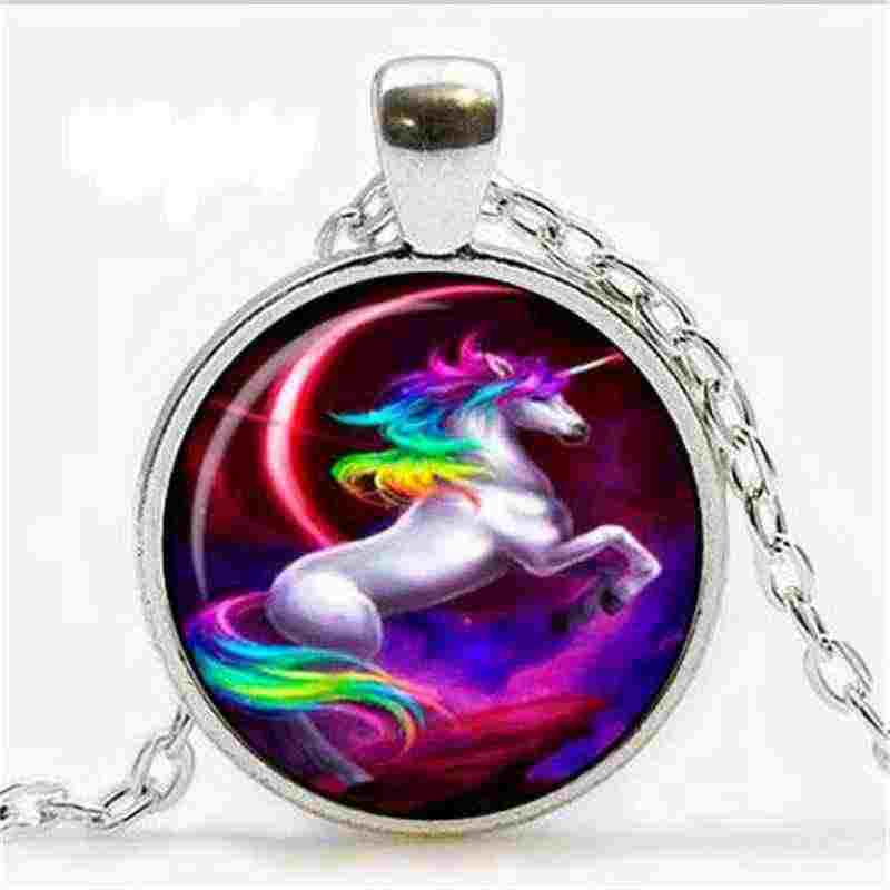 2018 new fashion pop pendant crystal glass necklace unicorn luxury jewelry art style gift
