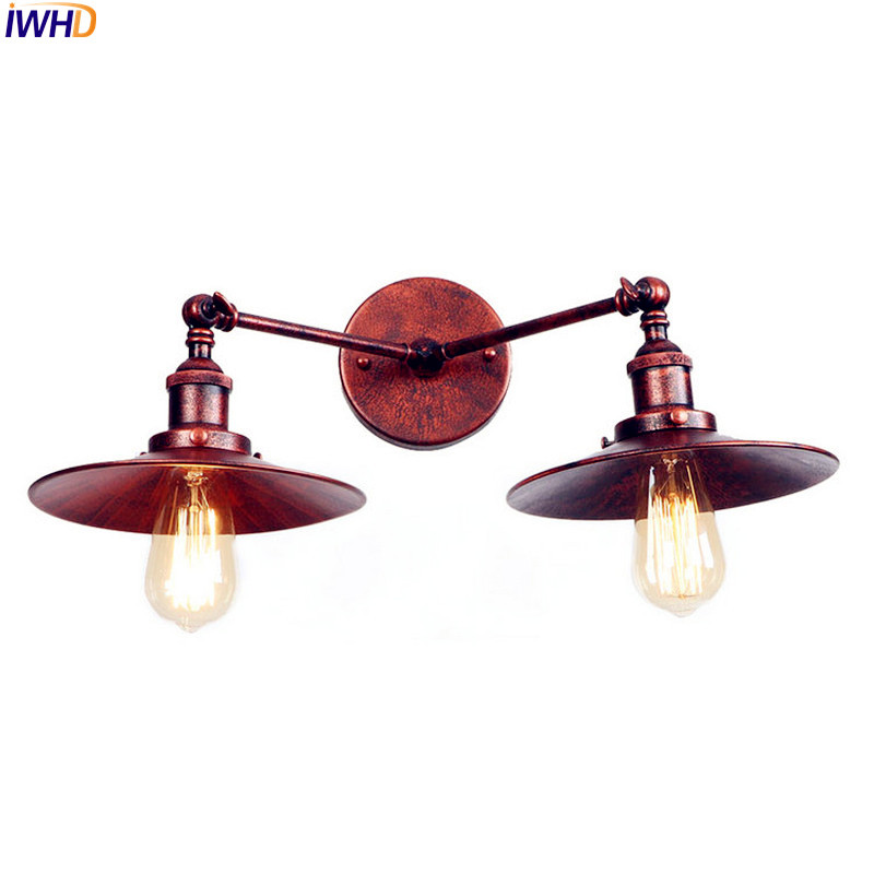 IWHD 2 Heads Rust Edison LED Wall Lamp Arm Home Lighting Adjustable Loft Industrial Vintage Wall Sconce Stair Light Wandlamp brass glass wall lights led vintage edison american home stair lighting living room adjustable arm industrial wall lamp sconce