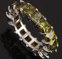 Superior 18 pcs Green Oval Peridot 925 Sterling Silver Overlay Women's Fine Jewelry Sale Size 6 7 8 9 Freeshipping S0465