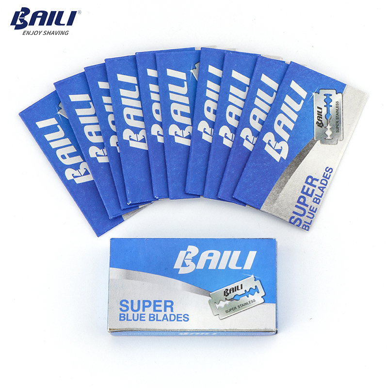 Image 2 - BAILI 200 Pcs/Lot Super Blue Safety Razor Blades Double Edge Shaver Beard Hair Shaving Blades for Men Face Personal Care BP005-in Razor from Beauty & Health
