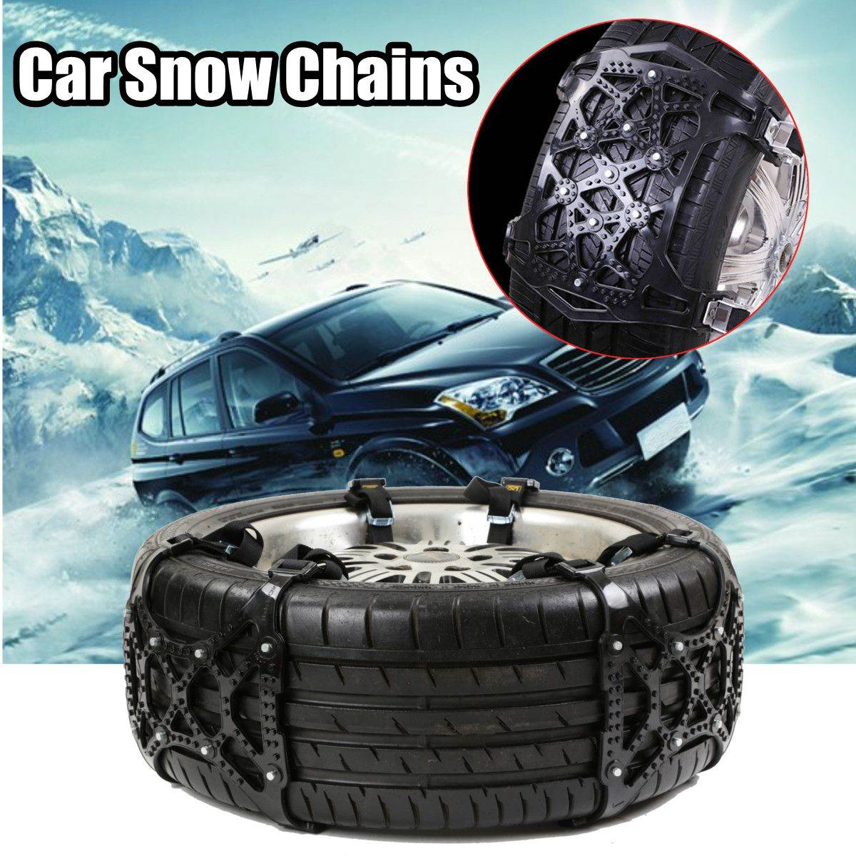 Black Anti-skid Car Snow Tyre Tire Chains Beef Tendon Vehicles Wheel Chain For Car-Styling Anti-Skid Autocross Outdoor