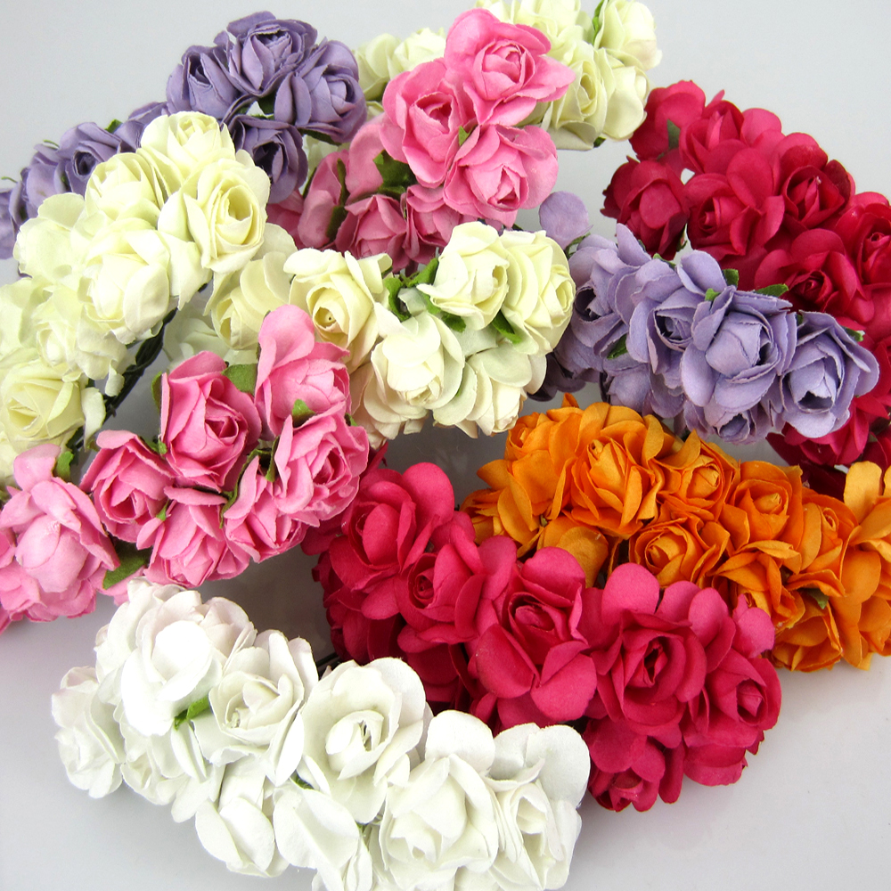 60pcs Mini Paper Rose Bouquet Wire Stem Wedding Flower For Craft