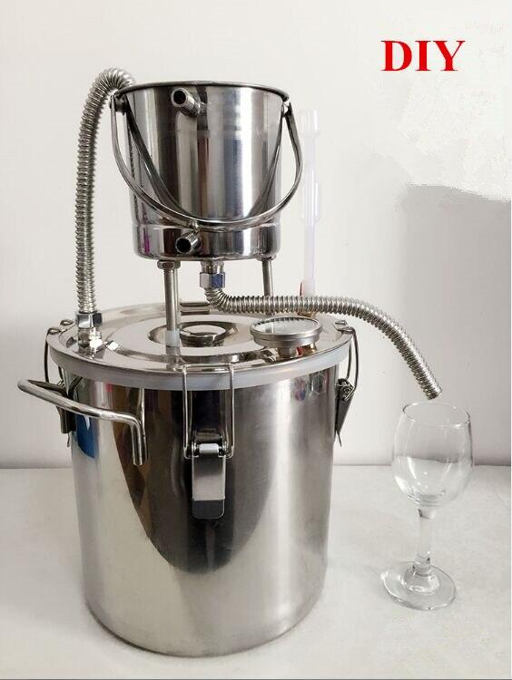 Livraison gratuite acier inoxydable bricolage Moonshine Super refroidisseur 10L/20L alcool Distillation vin Brandy Fermentation Hydrosol Machine