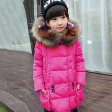 Girls Duck Down Jacket 2016 New Winter Children Coat Hooded Parkas Thick Warm  Windproof Clothes Kids Clothing long Outerwears new 2016 children boys winter long down coat hooded fur puffer jacket kids thick warm coats windproof parka snowday outwear