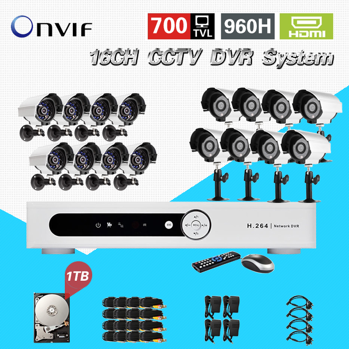 TEATE Home 16CH CCTV Security Camera System 16 channel DVR 700TVL Outdoor IR Camera DIY Kit Video Surveillance System CK-207 home cctv surveillance system 16 channel dvr recording with 16pcs 700tvl dome security camera system cctv dvr kit 16ch ck 206