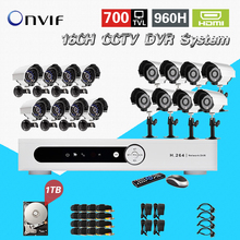 TEATE Home 16CH CCTV Security Camera System 16 channel DVR 700TVL Outdoor IR Camera DIY Kit Video Surveillance System CK-207