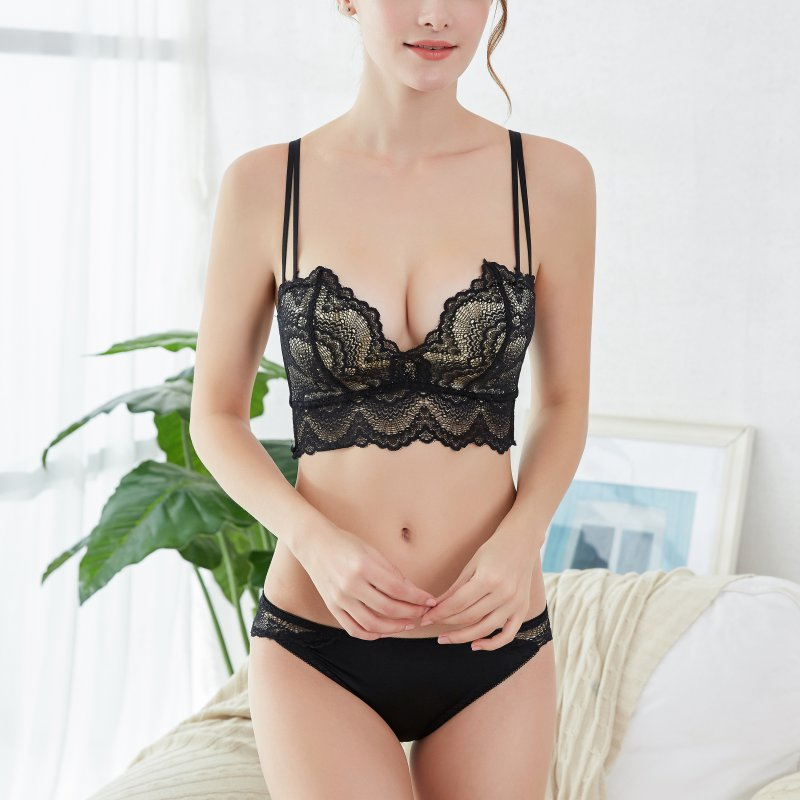 Sexy Lace Underwear   Set   Gather Embroidery   Bra     Sets   Sweet Super Push Up Young Girl   Bra     Brief     Sets