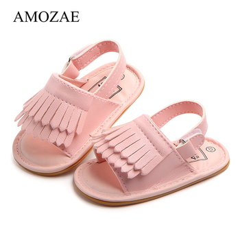 Baby Sandals PU Girl Shoes Newborn Tassel Fashion Rubber Soles 2020 Summer For 0-18M