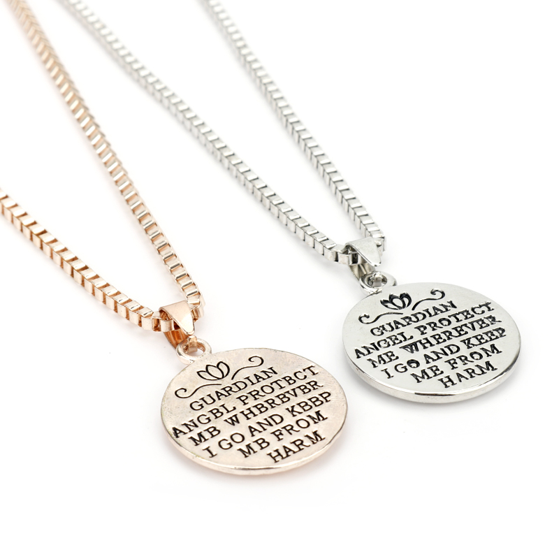 HANCHANG Fashion Jewelry Guardian Angel Protect Me Wherever I Go,Keep Me From Harm Pendant Necklace Relief Collar Men Women Gift