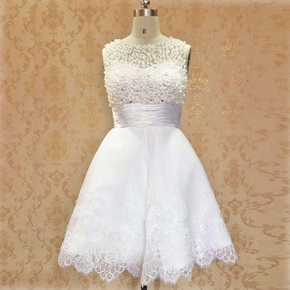 Alexzendra Short Mini   Prom     Dresses   V Back Full Pearls White Graduation   Dress   for 16 Girls Party   Dresses