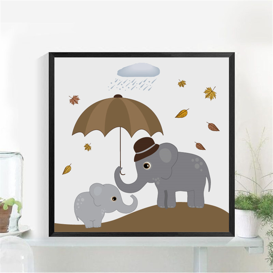 Nordic Modern Animal Love Elephant Print Wall Art Poster Decor , Cute and Happy Elephant Painting Wall Picture Home Decoration african elephant