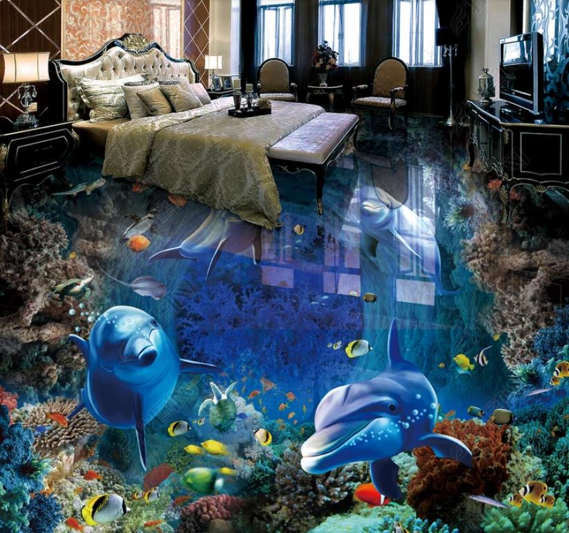 The New Selling 3d flooring Undersea world dolphin 3d wallpaper living room bedroom pvc floor self