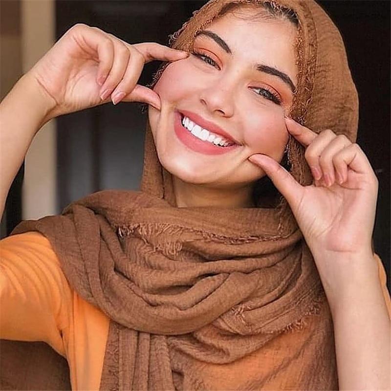2020 Fashion Women Crinkle Hijab Scarf Soft Solid Cotton Headscarf Shawls And Wraps Islam Foulard Femme Muslim Head Scarves