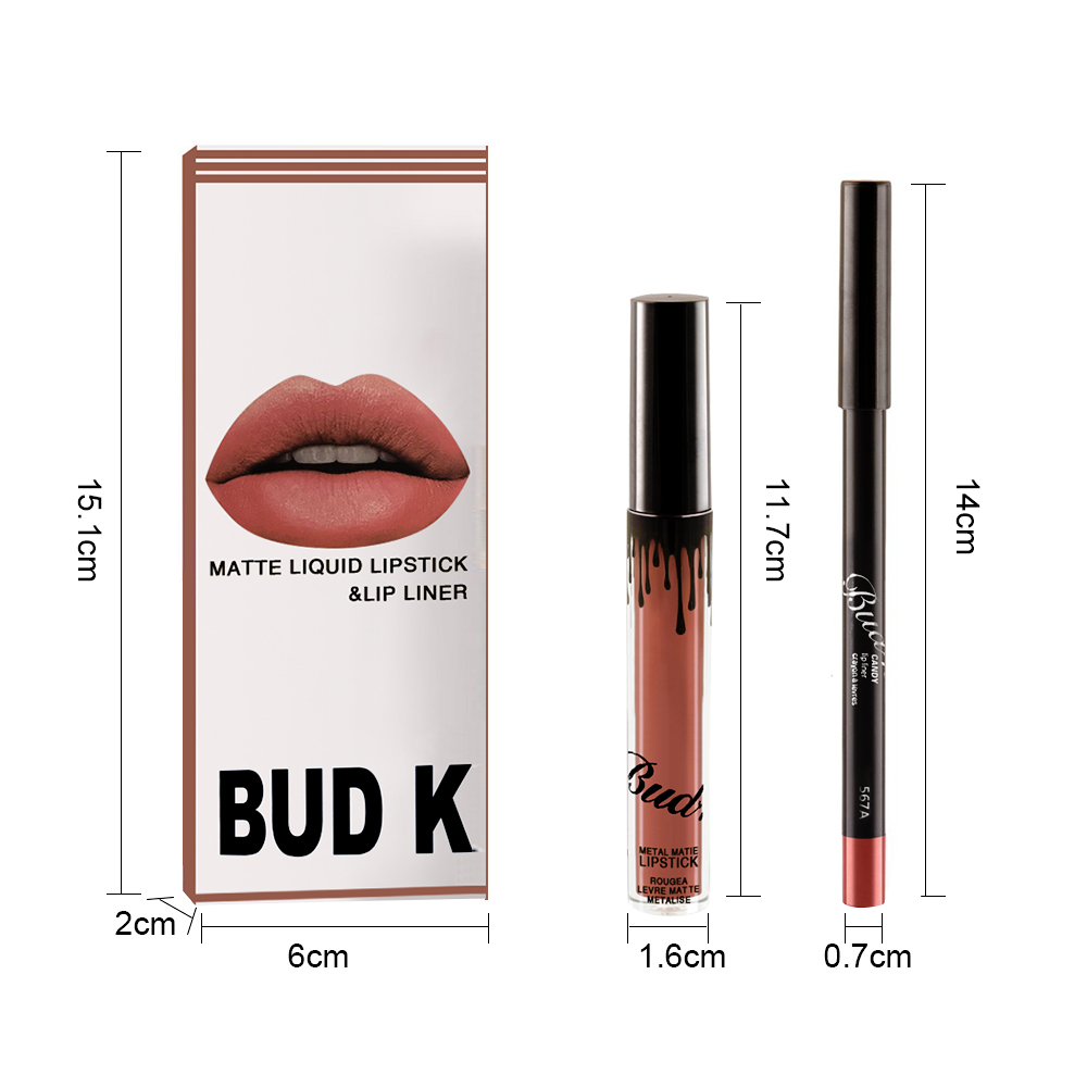 NEW BUD K Brand Liquid Matte <font><b>Lipstick</b></font> <font><b>set</b></font> lips Pencil Makeup lasting Waterproof <font><b>Mate</b></font> lip gloss Cosmetics lip kit batom CANDY K image