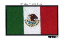 """3"""" wide Mexico embroidery flag patch free shipping for lucky candy colors/band patches/a flying eagle"""