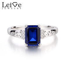 Leige Jewelry Lab Blue Sapphire Ring Engagement Rings Emerald Cut Gemstone 925 Sterling Silver September Birthstone for Women