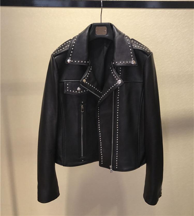 New arrival women sheepskin rivets jackets coat Hot fashion slim fit real leather Jackets women D700