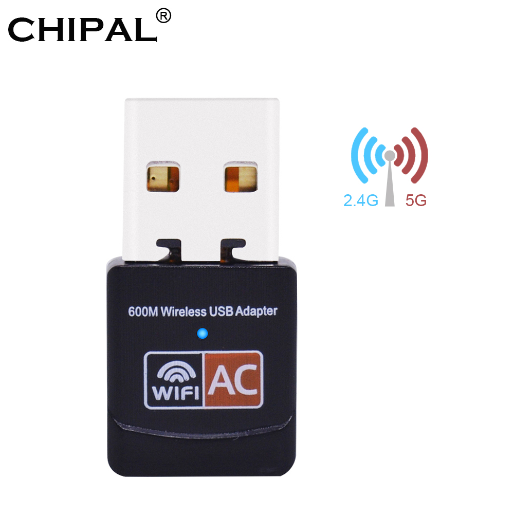 US $4 95 20% OFF|CHIPAL 600Mbps Dual Band Wireless Network Card External  USB 3 0 WiFi Adapter 4dbi Antenna PC LAN Wi Fi Receiver Dongle 802 11AC-in