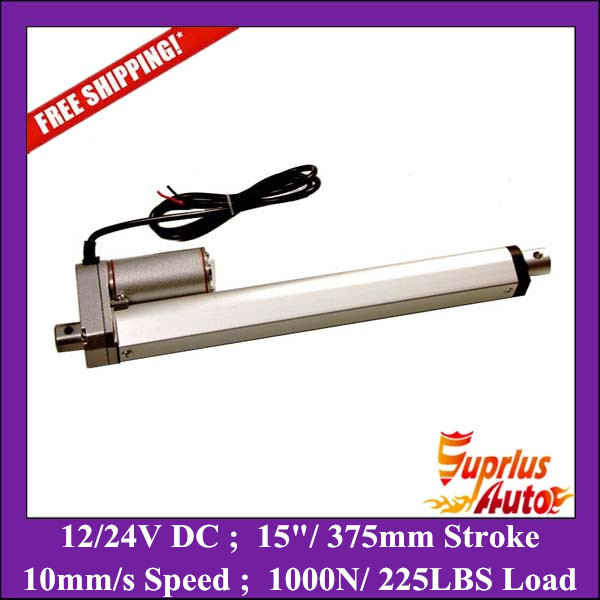 Free Shipping 12 Volt Linear Electric Actuator 15inch/ 375mm stroke with max force 1000N/ 225LBS Small Linear Actuator free shipping 12 24v 1inch 25mm stroke linear actuator with potentiometer 225lbs 1000n force electric linear actuator