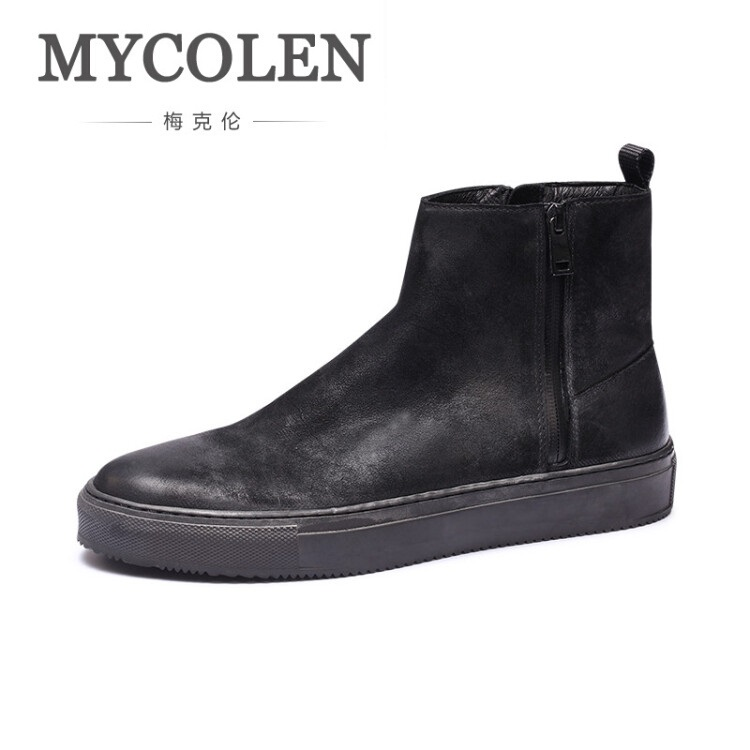 MYCOLEN New Autumn Winter Comfortable Men Shoes Zipper Closure Leather Boots Fashion Black Ankle Boots For Men Bota Masculina northmarch autumn winter retro men boots comfortable zipper brand casual shoes leather snow boots shoes dark red bota masculina