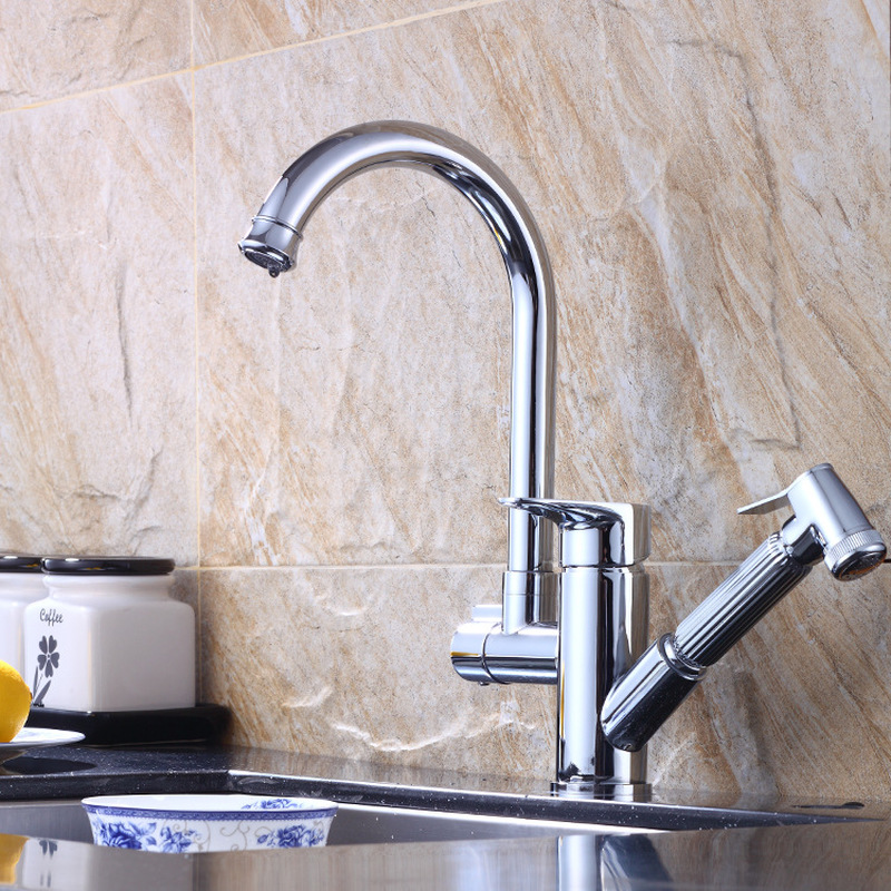 Hot And Cold Water Kitchen Sink Faucet Mixer Sink Faucet Double Handle Bar Tap Kitchen Faucet With Pull Down Sprayer Kitchen Faucets Aliexpress