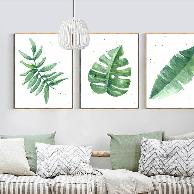 Us 5 14 35 Off Nordic Simple Fresh Watercolor Leaves Green Plants Wall Painting Canvas Print Home Decoration Painting Living Room Wall Poster In