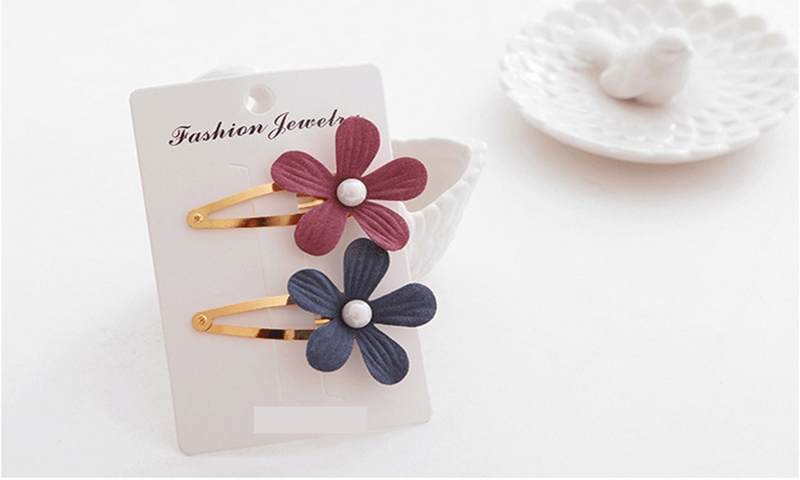 #AD17033 Cotton Flower Baby BB Toddler Hair Clips Bows Barrettes Children Hairpin Mix Color 2pcs/lot