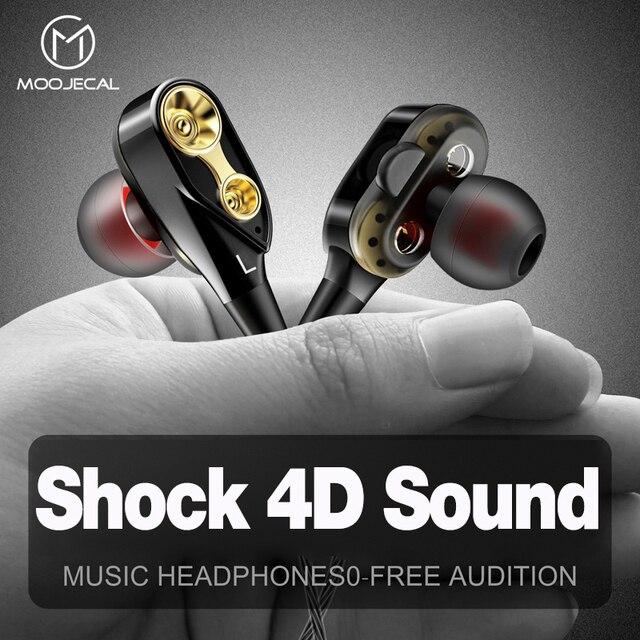 MOOJECAL double pilote écouteurs in-ear stéréo basse écouteurs Sport course HIFI écouteurs pour xiaomi fone de ouvido auriculares Mp3