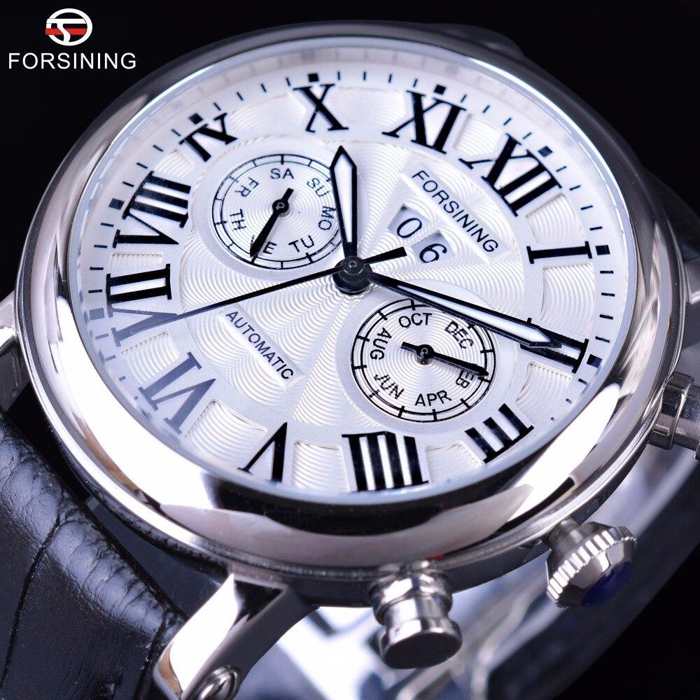 Forsining 2017 Series Roman Number Display Calendar Sapphire Mirror Waterproof Mens Watch Top Brand Luxury Automatic Watches