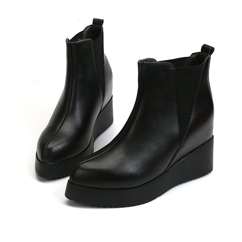 Ho Heave Women Slip On High Platform Shoes Female Fashion Casual High Ankle Boots Increased Internal Women Shoes Size 35-39