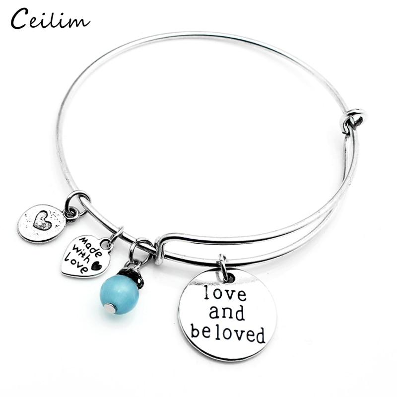 New Silver Letter Love Bangle Expendable Wire Bracelet Famous Designer Jewelry for Women Handmade Heart Charms Bracelet