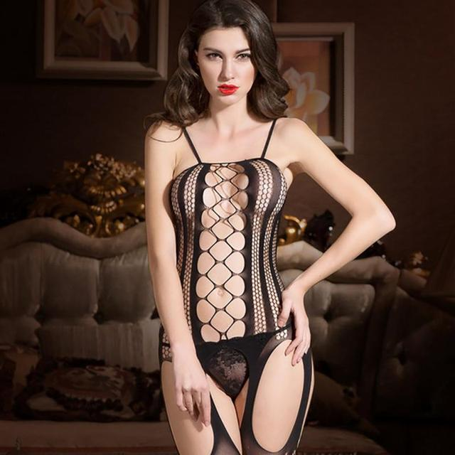 Free size Women Sexy Bandage Hollow out Sexy Costumes Erotic lingerie Open crotch tight fishnet Bodystocking Sexy Lingerie