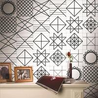 Black And White Retro Geometric Tile Tiles Stickers PVC Bathroom Toilet Waterproof Wall Stickers Home Decor