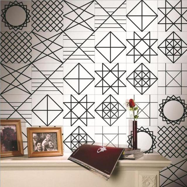 Zwart wit Retro Geometrische Tegel Tegels Stickers PVC Badkamer Wc ...