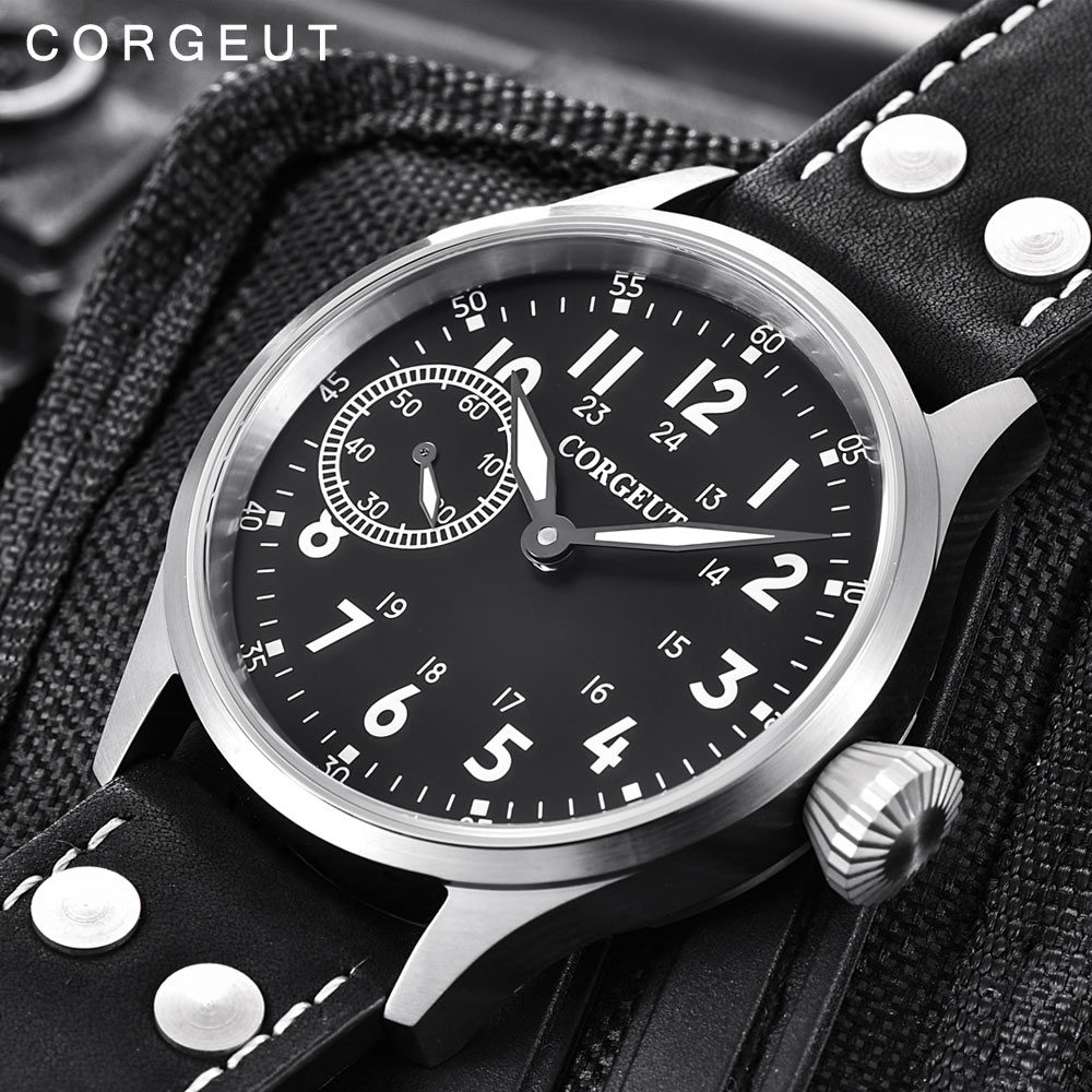 Luxury corgeut นาฬิกาผู้ชาย 17 Jewels Hand Winding 6497 ST3600 หนังนาฬิกา sapphire Luminous ชายแฟชั่นนาฬิกาข้อมือ-ใน นาฬิกาข้อมือกลไก จาก นาฬิกาข้อมือ บน   1