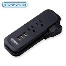 NTONPOWER regleta de viaje con USB enchufe plano eléctrico, Mini carga de escritorio con cable de extensión de 15 pulgadas para Crucero, EE. UU.