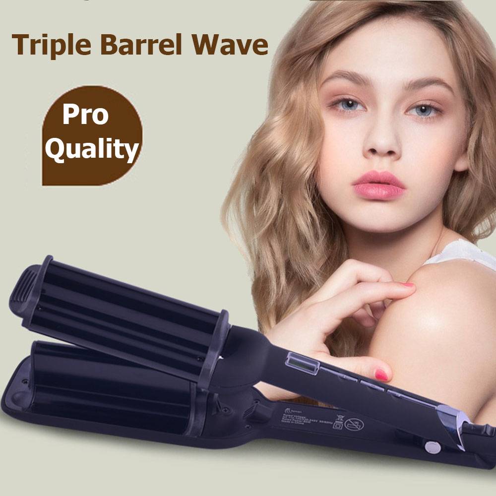 High Quality Triple Barrel Wave Curlers Hair Curlers Wave Spring Ceramic Curling Iron br ...