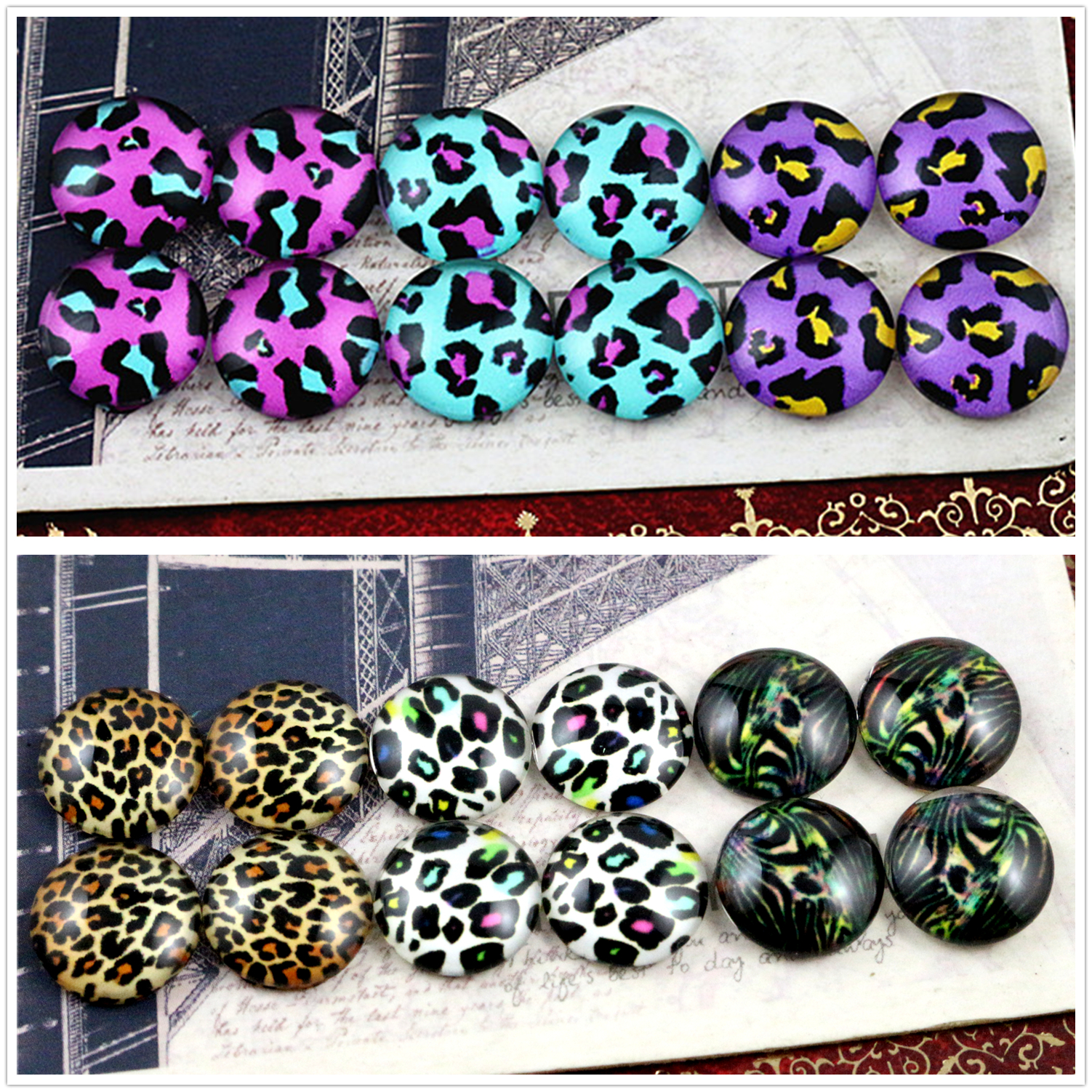 12pcs/lot (One Set) Two Style Fit 12mm Fashion Zebra Leopard Handmade Glass Cabochons Pattern Domed Jewelry Accessories Supplies