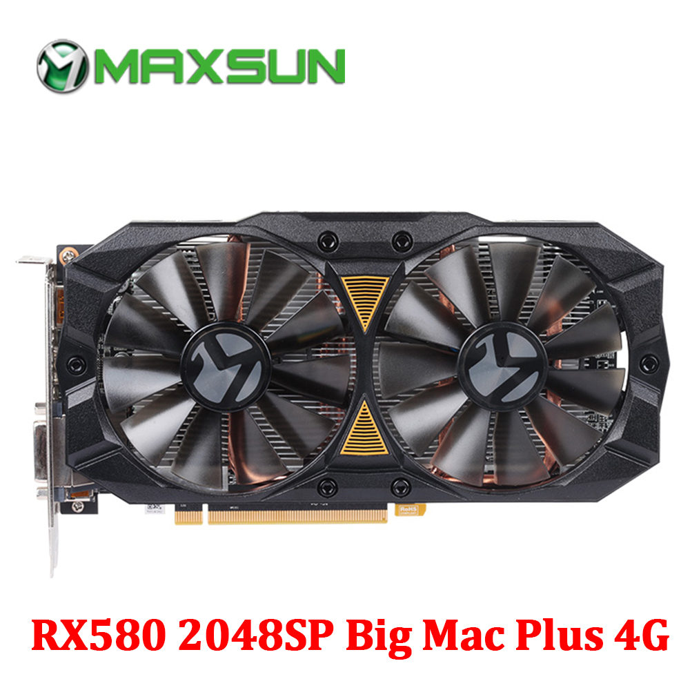 MAXSUN Graphic card rx 580 2048SP Big Mac Plus 4G AMD 256bit GDDR5 7000MHz 1168 1284MHz