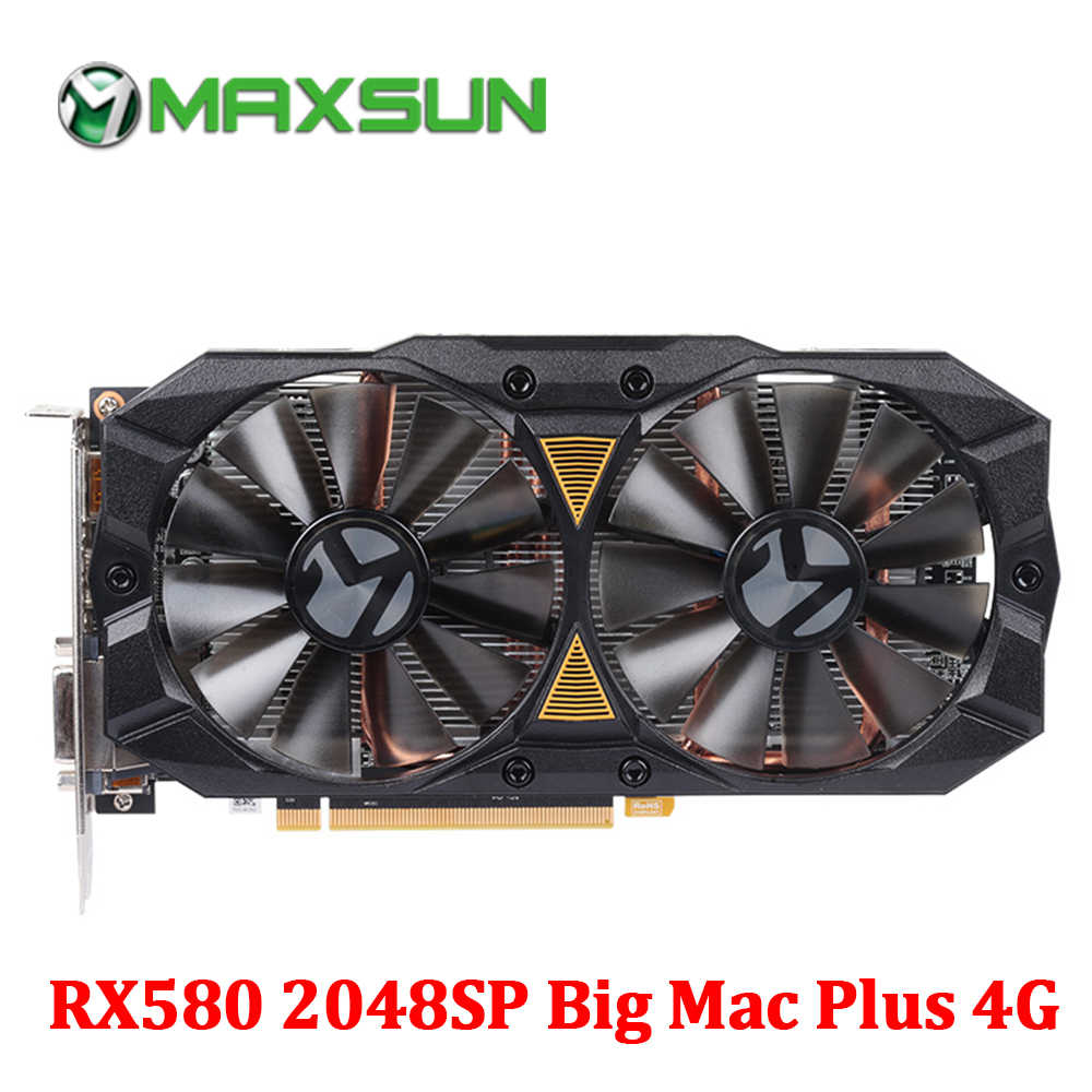 MAXSUN Graphic card rx 580 2048SP Big Mac Plus 4G AMD 256bit GDDR5 7000MHz 1168-1284MHz HDMI+DP+DVI RX580 video card for desktop