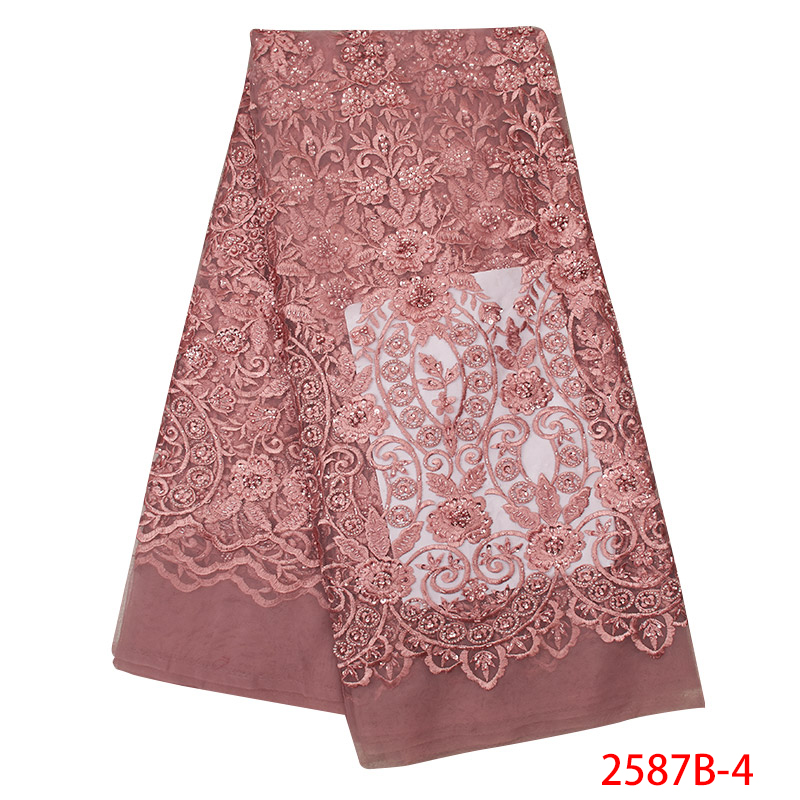Latest Nigerian Lace Fabric Embroidery Tulle Lace High Quality African French Laces Fabric With Beads Sequin KS2587B-4