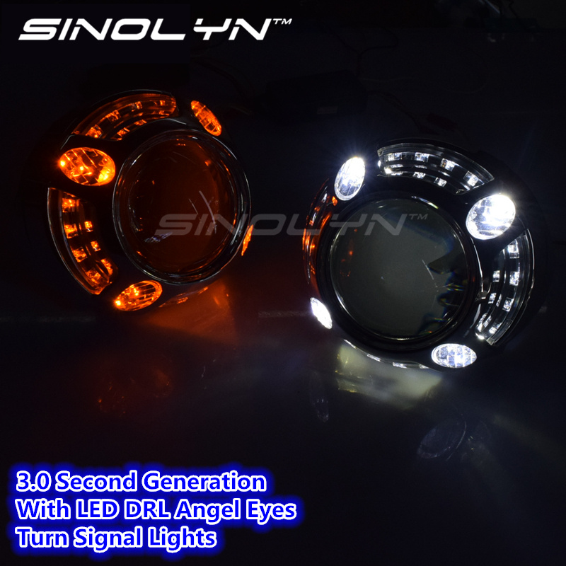SINOLYN LED DRL Angel Eyes 3.0 inch Bi xenon Lens Projector Headlight Turn Signal Lamp Switchback H1 H7 H4 Headlamp Car Styling sinolyn upgrade 8 0 car led cob angel eyes halo bi xenon headlight lens projector drl devil demon eyes h1 h4 h7 kit retrofit diy