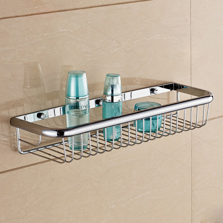 Wall Mounted Bathroom Shelf Copper Chrome Single Layer Shower Storage  Basket Rectangle Bath Shelves Bathroom Accessories