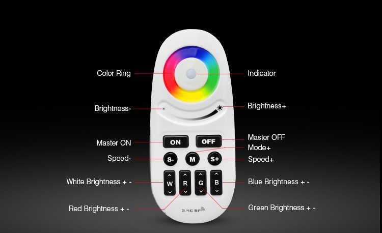 Mi lumière manuelle et automatique réglable RGBW LED contrôleur de bande FUT028 DC 12 V-24 V sans fil 2.4G RF bouton poussoir RGBW télécommande