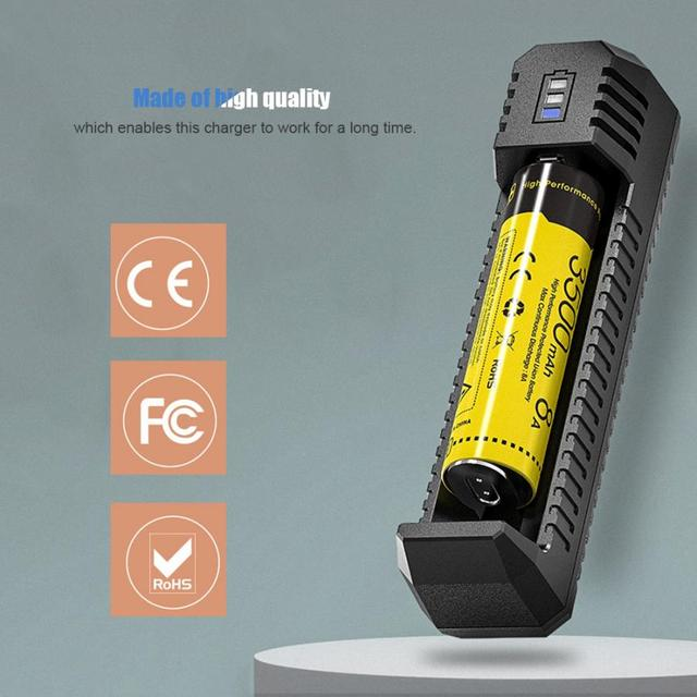 Portable USB Li ion Battery Charger Compatible With 18650 16340 14500 Battery for Nitecore UI1