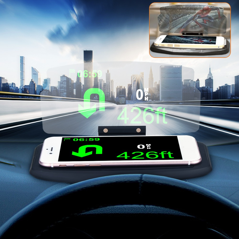 Universal Mobile Phone HUD Car Holder Windscreen Projector HUD Head Up Display 6.5 Inch For iPhone for Samsung GPS new arrival smart cell phone holder mount head up display car hud phone gps navigation wireless charger stand for iphone 8 plus