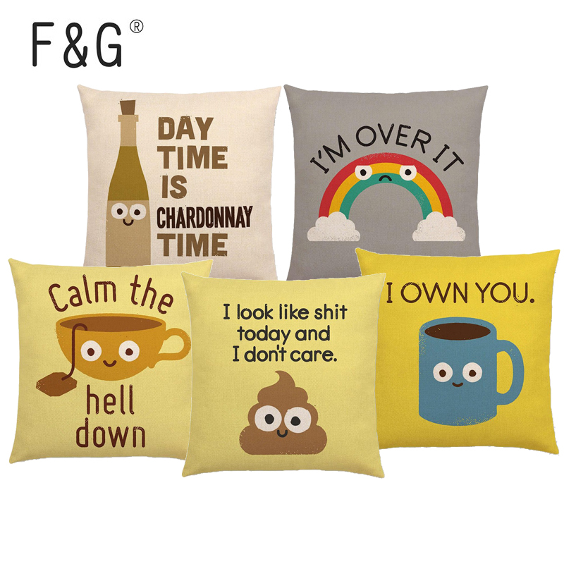 Funny Cartoon Cushion Cover Beer Bread Rainbow Food Reference Book Color Printing Car Sofa Home Decoration Throw Pillow Case